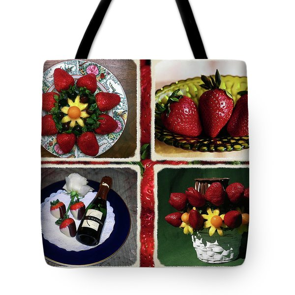 Strawberry Collage Tote Bag by Sally Weigand