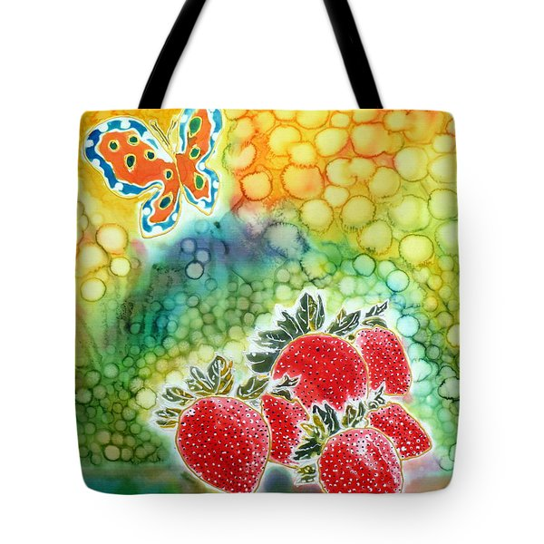 Strawberry Garden Tote Bag by Beverly Johnson