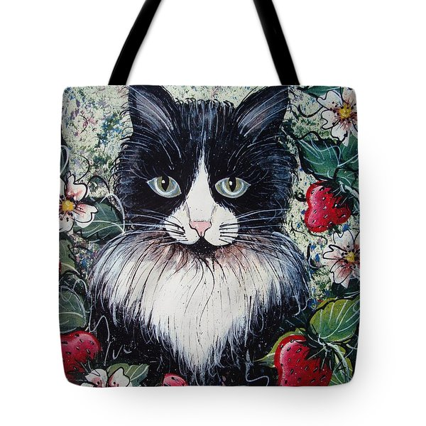 Strawberry Lover Cat Tote Bag
