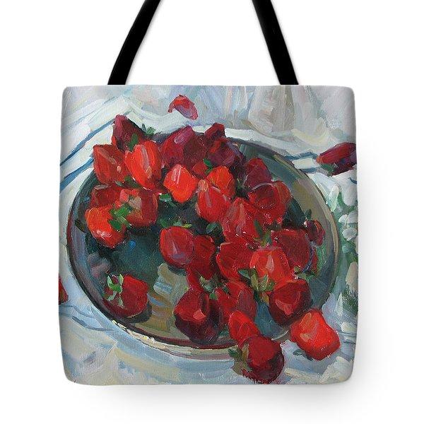 Strawberry On White Tote Bag