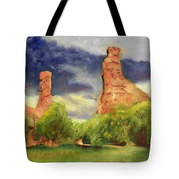 Strawberry Pinnacles Tote Bag by Sherril Porter