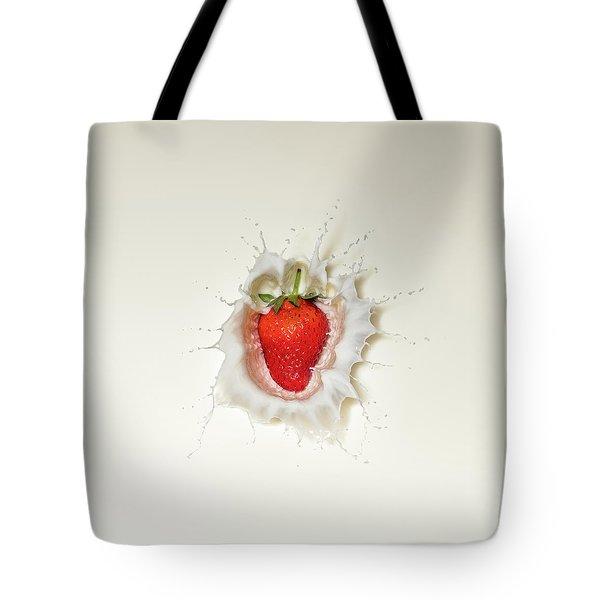Strawberry Splash In Milk Tote Bag