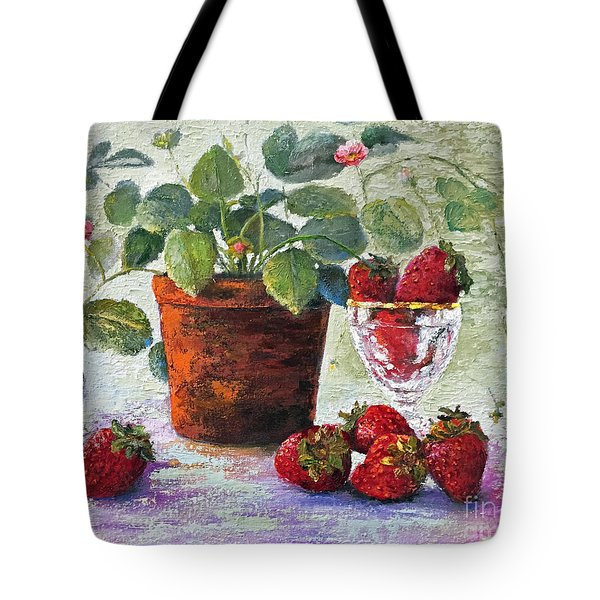 Tote Bag featuring the painting Strawberry Still Life by Marlene Book