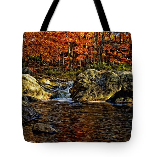 Stream In Autumn 57 In Oil Tote Bag