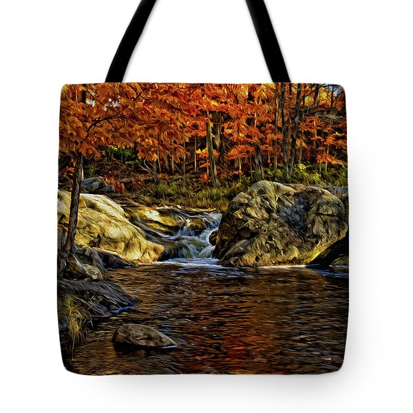 Tote Bag featuring the photograph Stream In Autumn 57 In Oil by Mark Myhaver