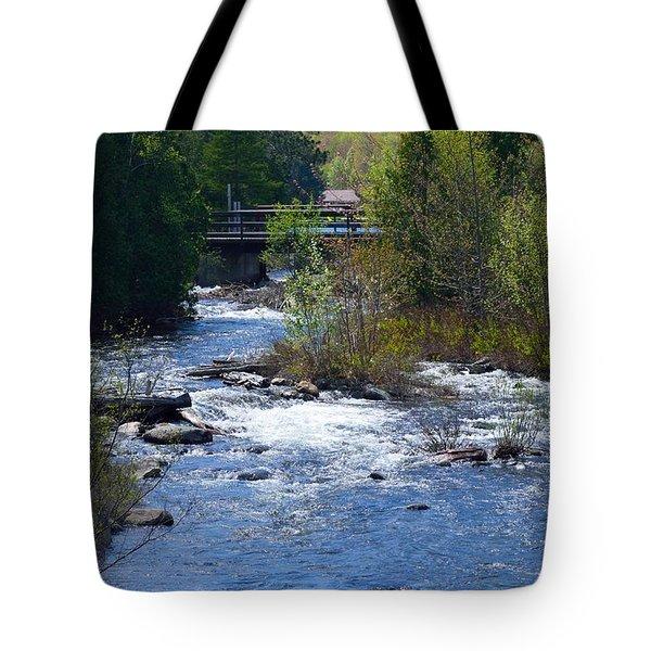 Stream In Spring Tote Bag by David Porteus