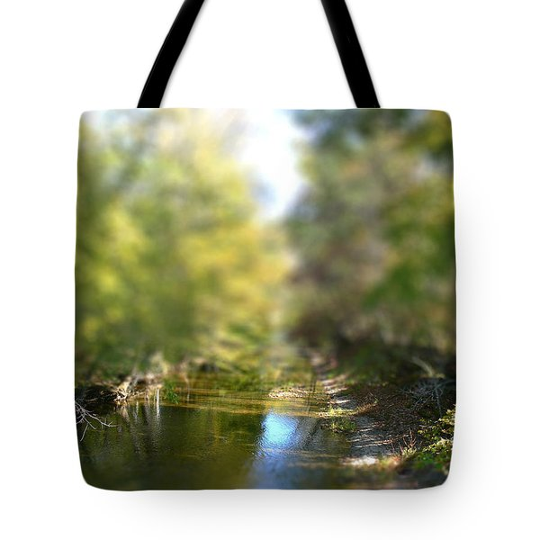 Tote Bag featuring the photograph Stream Reflections by EricaMaxine  Price