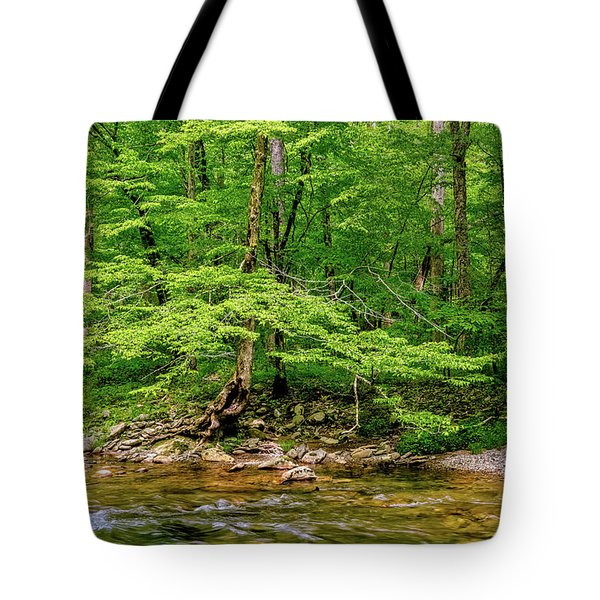 Tote Bag featuring the photograph Stream Side by Christopher Holmes