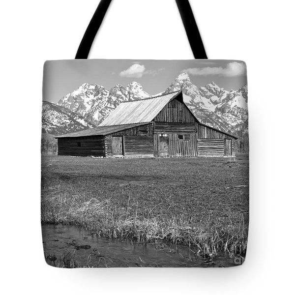 Streaming By The Moulton Barn Black And White Tote Bag by Adam Jewell