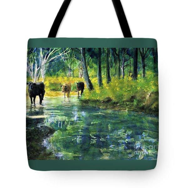 Streaming Cows Tote Bag