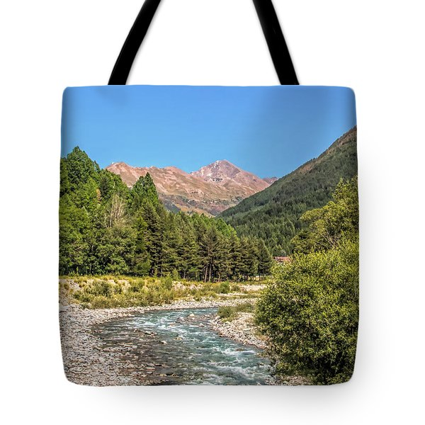 Streaming Through The Alps Tote Bag