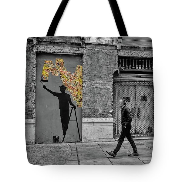 Street Art In Malaga Spain Tote Bag by Henry Kowalski