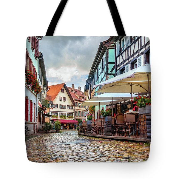 Street Cafe After The Rain Tote Bag
