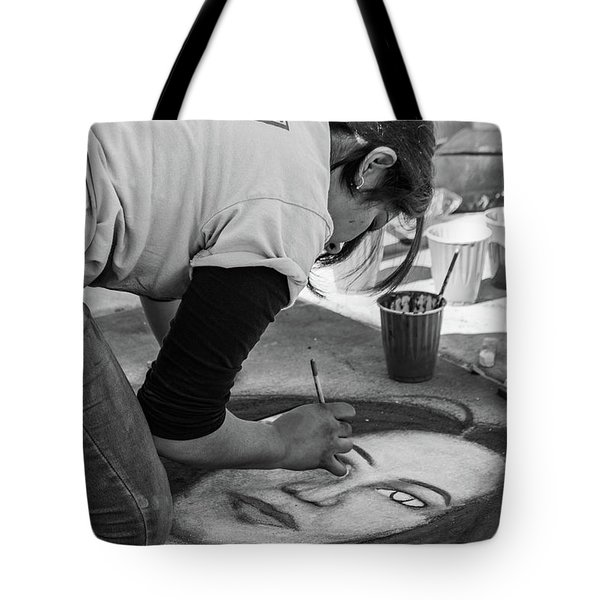Tote Bag featuring the photograph Street Chalk Artist by SR Green