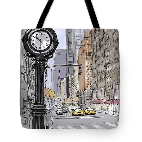 Street Clock On 5th Avenue Handmade Sketch Tote Bag