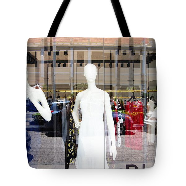 Tote Bag featuring the photograph Street Fashion Window by Gregg Cestaro