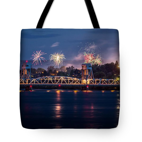 Street Fireworks By The Blue Bridge Tote Bag