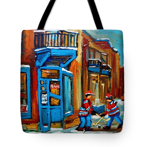 Street Hockey At Wilensky's Montreal Tote Bag by Carole Spandau