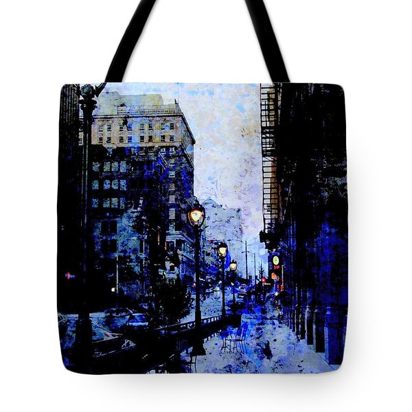 Street Lamps Sidewalk Abstract Tote Bag