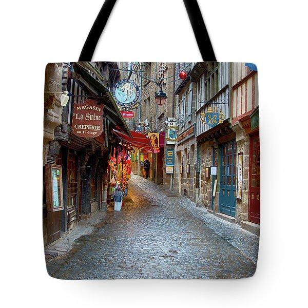 Street Le Mont Saint Michel Tote Bag