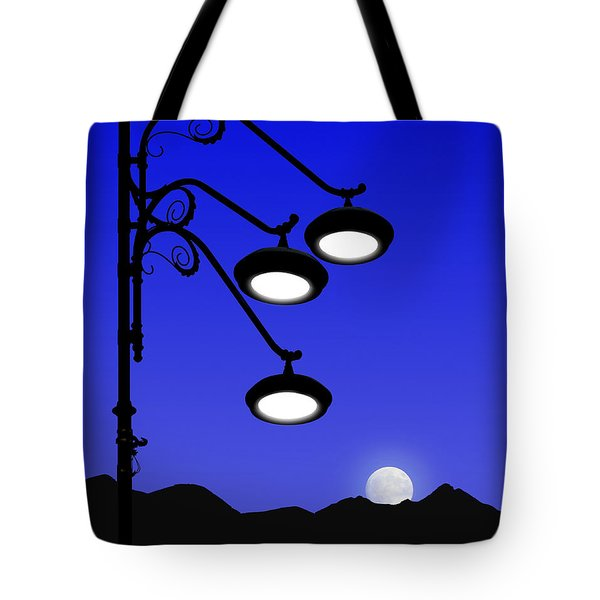 Street Light And Moonrise Tote Bag