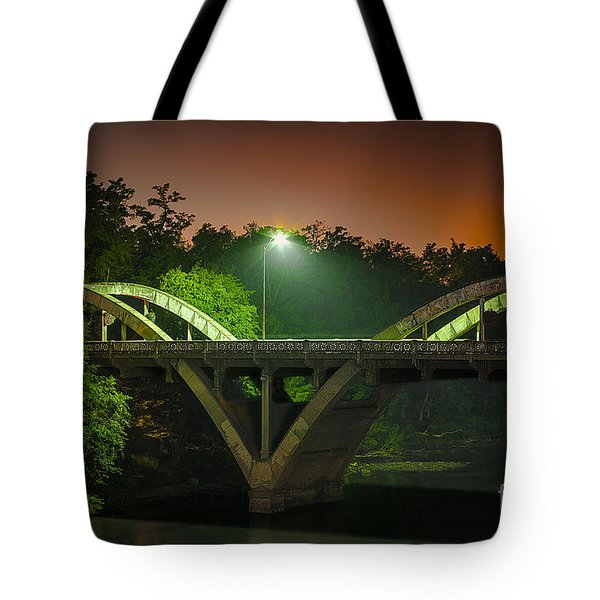 Street Light On Rogue River Bridge Tote Bag by Jerry Cowart