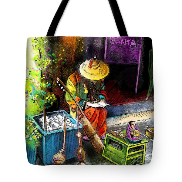 Street Musician In Pietrasanta In Italy Tote Bag by Miki De Goodaboom