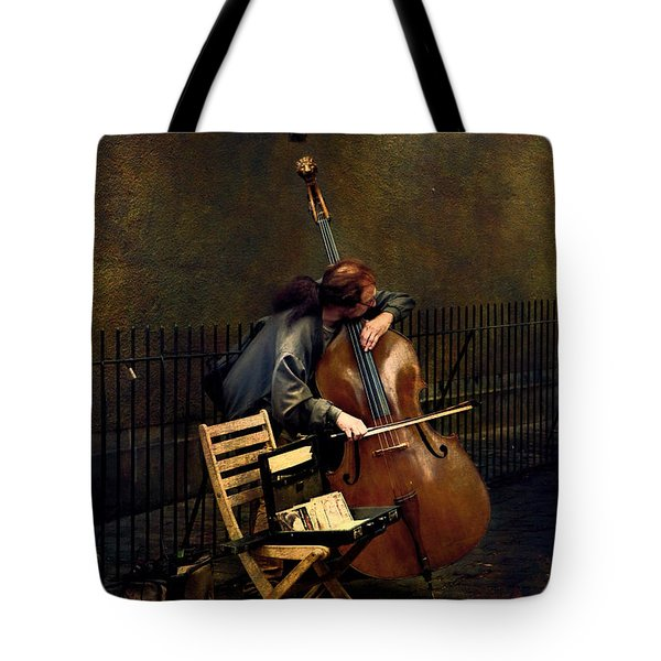 Street Musician Tote Bag by John Rivera