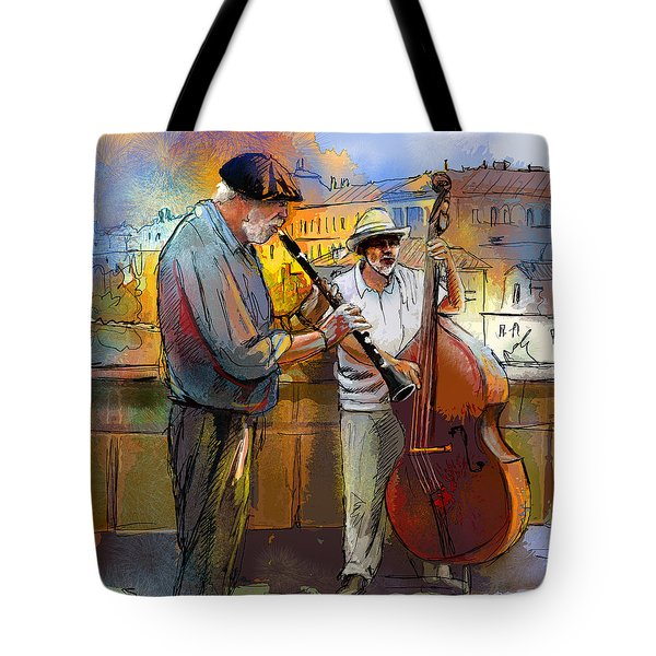 Street Musicians In Prague In The Czech Republic 01 Tote Bag by Miki De Goodaboom
