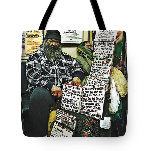 Street Preacher On The A Train Tote Bag by Sarah Loft