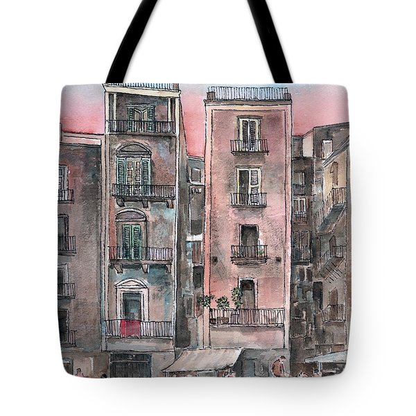 Street Scene At Twilight Tote Bag by Arline Wagner