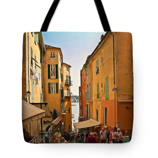 Street Scene In Villefranche Tote Bag by Steven Sparks