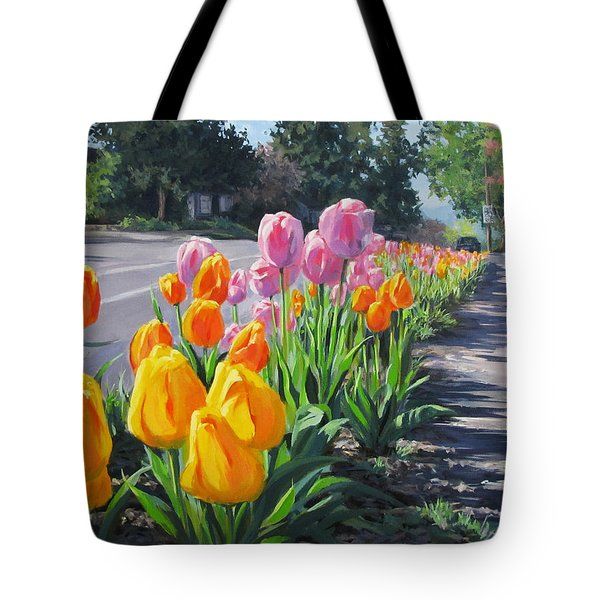 Street Tulips Tote Bag by Karen Ilari