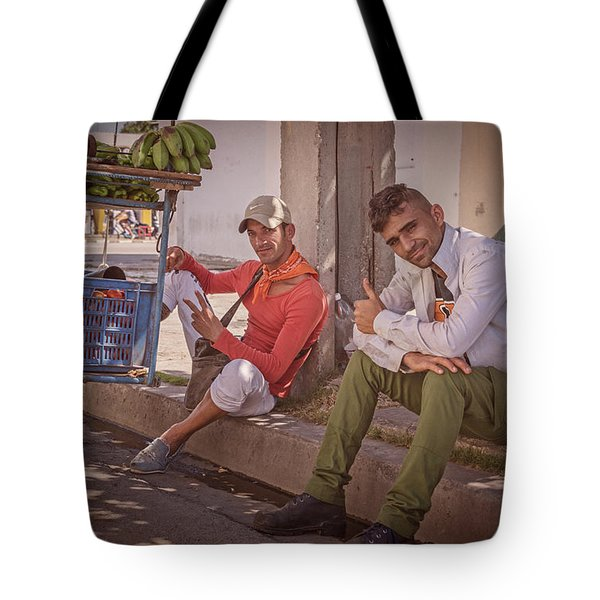 Tote Bag featuring the photograph Street Vendors In Cienfuegos Cuba by Joan Carroll