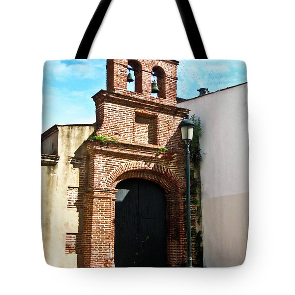 Streetlight Bells And Cross Tote Bag by Douglas Barnett