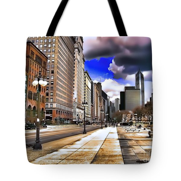 Tote Bag featuring the digital art Streets Of Chicago by Kathy Tarochione