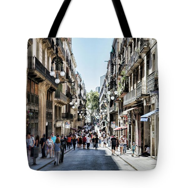 Streets Of La Rambia Barcelona  Tote Bag