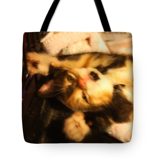 Stretching Kitty Tote Bag