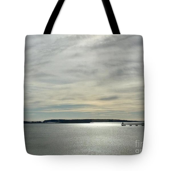 Striated Sky Over Casco Bay Tote Bag