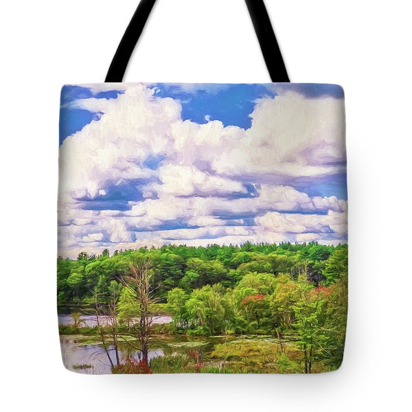 Striking Clouds Above Small Water Inlet And Green Trees Tote Bag