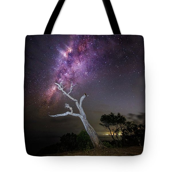 Tote Bag featuring the photograph Striking Milkyway Over A Lone Tree by Pradeep Raja Prints