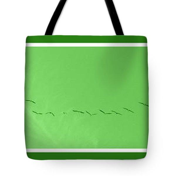String Of Birds In Green Tote Bag