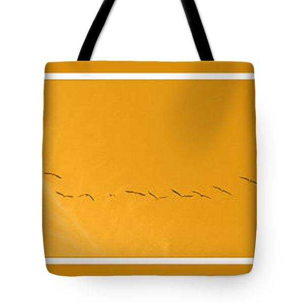 String Of Birds In Orange Tote Bag