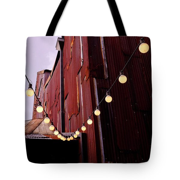 String Of Lights Near An Old Brown Building In Saint Augustine F Tote Bag