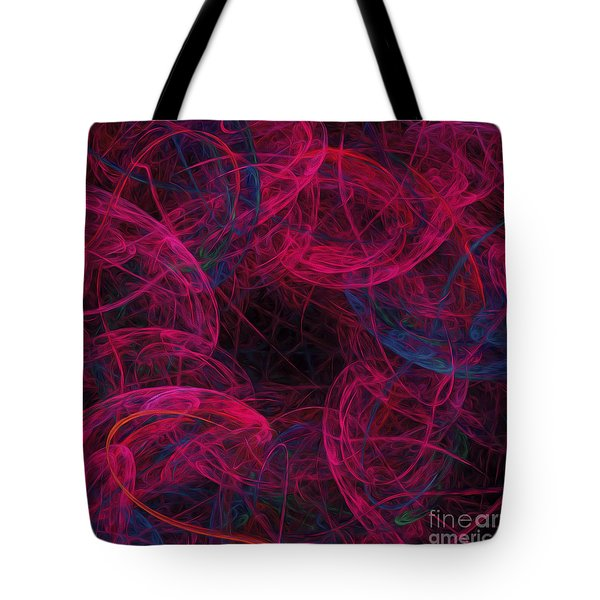Tote Bag featuring the digital art String Time Abstract by Andee Design