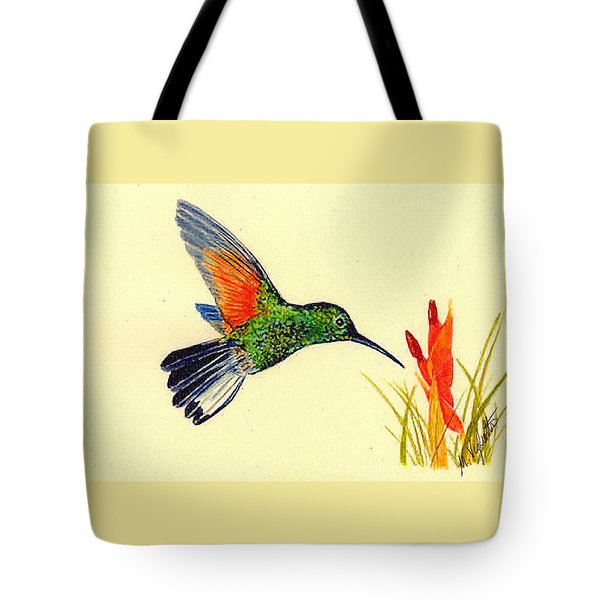 Stripe Tailed Hummingbird Tote Bag by Michael Vigliotti
