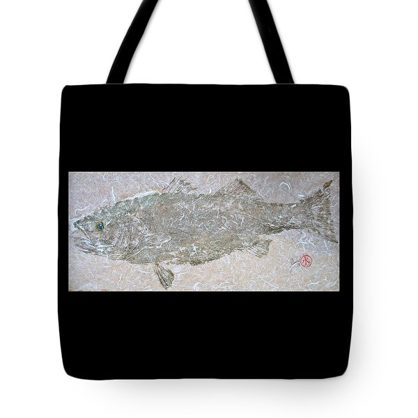 Striped Bass On White Thai Unryu  Tote Bag