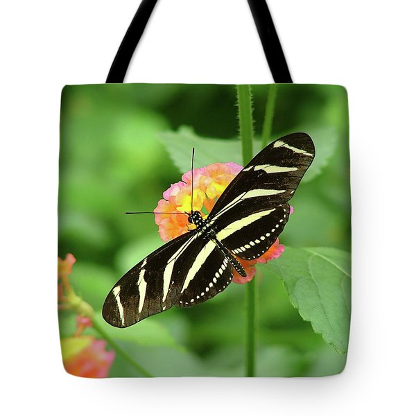 Striped Butterfly Tote Bag