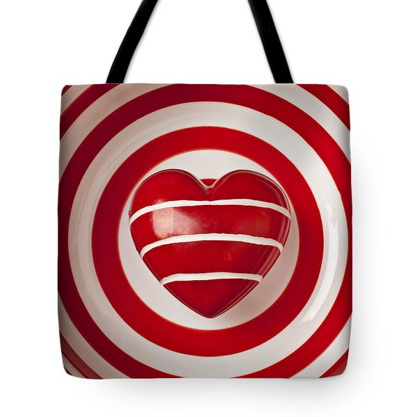 Striped Heart In Bowl Tote Bag by Garry Gay