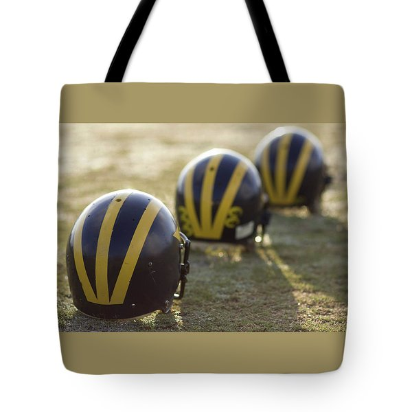 Striped Helmets On A Yard Line Tote Bag